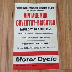 Rare Vintage 1968 Vintage Motor Cycle Club Poster Coventry-Brighton Motor Cycle Paper Motor Bike Rally Advertising Poster  Triumph by VintageBlackCatz on Etsy