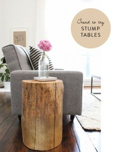 DIY tree stump tables | photo from sugar & cloth, guest post by At Home In Love on ohlovelyday.com