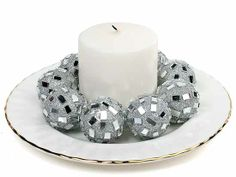 Silver Glittery Mirrored Decorative Balls Package of 10 - Fillers - Vase and Bowl Fillers - Home Decor