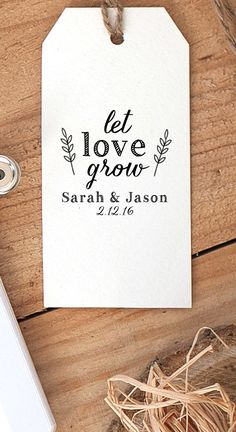 Let Love Grow Stamp, Seed Packet Stamp, Wedding Favor Stamp, Tag Rubber Stamp…