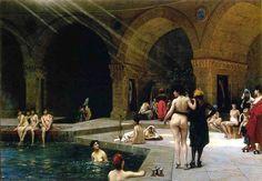 Jean-Leon Gerome Bursa'daki Büyük Hamam / Grande Piscine de Brousse 1885. Tuval üzerine yağlıboya. 70 x 96.5 cm. Private Collection.