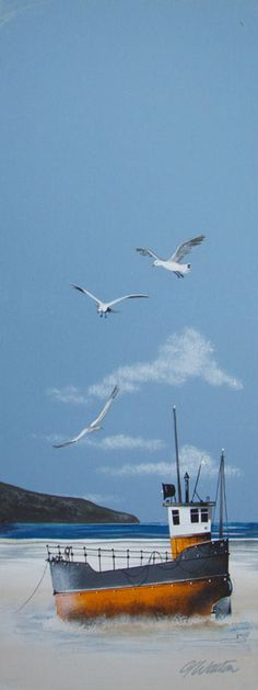 Gary Walton acrylic 'Tug Boat and Seagulls'