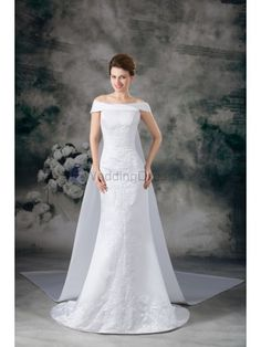 Satin Strapless Cathedral Train Sheath Embroidered Wedding Dress