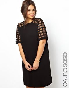 black dress with gage sleeves
