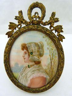 Antique Hand Painted Porcelain Victorian Framed Ornate Miniture Portrait Cameo   eBay