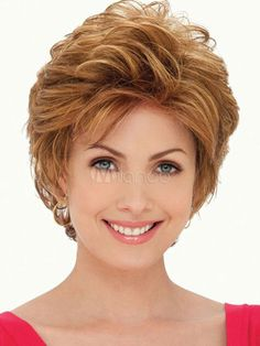Pelucas de cabello humano doradas de pelo rizo estilo moderno  8 inches-No.1