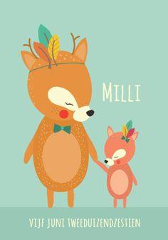 Geboortekaartje Milli - Pimpelpluis - https://www.facebook.com/pages/Pimpelpluis/188675421305550?ref=hl (# meisje of jongen - grote broer - grote zus - hert - hertje - indiaan - veren - pluimen  - origineel)