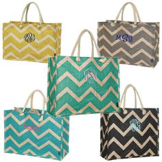 These are great for bridesmaids gifts! Made from Juco a blend of cotton and jute they are Eco Friendly and more durable than both cotton and jute totes. Add a name or initials for a personalized look.