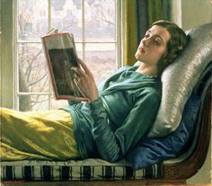 """Harold Knight(English, 1874-1961)- Girl Reading,1932  """"I don't think I look remotely this poetic reading... but then I don't have a chaise and I'm at least 35 years older than she is! Fine portrait of languor, ennui, reading... and all the shades of green-blue-gray emphasize this... A shadow-reader, escaping - pain? Bordeom?"""" Crescent Dragonwagon's Writing, Cooking, & Workshops"""