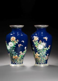 Пара cloisonn & вазы по Hayashi Kodenji of Nagoya, Meiji Period Nagoya, Japan Art, Gold Wire, Period, Auction, Porcelain, Enamel, Jar, Japanese