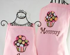 Matching Mother Daughter Apron Set Reversible in Pink and Aqua