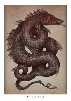 "VLADIMIR stankovic Sydney, Australia ""Gloucester Sea Serpent"" Illustrated Encyclopedia of Cryptozoology on Behance"