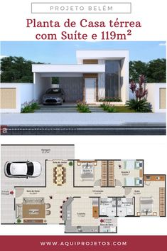 Single storey house plan with suite and total area of House Layout Plans, My House Plans, Family House Plans, House Layouts, House Floor Plans, Modern Small House Design, Dream Home Design, Home Design Plans, Single Storey House Plans