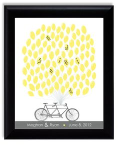 Unique Guest Book Alternative Modern Wedding Tandem Bicycle With Balloons Grey Yellow Gray