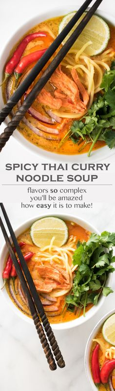 This Spicy Thai Curry Noodle Soup is rich, creamy, and packed with complex and bold flavors. One bite and you'll be truly amazed that this entire dish can be on the table in about 30 minutes.Replacing the rice noodles with zoodles. Asian Recipes, Healthy Recipes, Ethnic Recipes, Vegetarian Recipes, Soup Recipes, Cooking Recipes, Recipies, Curry Noodles, Rice Noodles