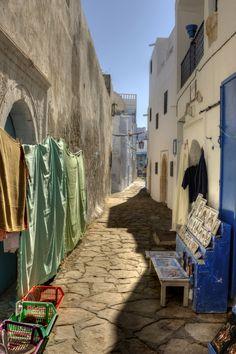 Narrow street in the Medina Hammamet, Tunisia