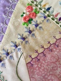 SEW MUCH TO QUILT : CRAZY QUILT PROGRESS - SILK RIBBON FINISHED