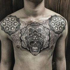 Crazy Chest Piece! #tattoo #tattedskin Artist: @ishi_neve
