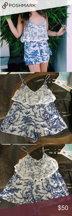 LF Millau Romper ⚡️LF's Millau brand  ⚡️ romper style  ⚡️ blue & white with pattern  ⚡️ crotchet detail along the top  ⚡️semi sheer at the bottom- would suggest wearing shorts or nude bottoms  ⚡️flowy fit  ⚡️low cut back ⚡️retail price $150 ❤️ offers welcome! LF Other