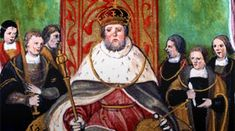 Illustration of Henry VIII on throne from Valor Ecclestiasticus, catalogue reference: E344/22