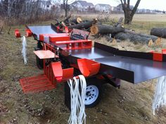 This is displaying our bundle wood trays. These trays allow you to bundle wood directly from the wood splitter trays. The material used to bundle wood is a poly cord strapping that has a 750 lb break strength. Stump Grinder, Log Splitter, Maybe One Day, Wood Tray, Wood Cutting, Firewood, Trays, Compact, Strength
