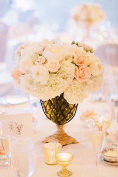 Peach Roses and White Hydrangeas in Amber Vase   photography by http://erinheartscourt.com/blog/