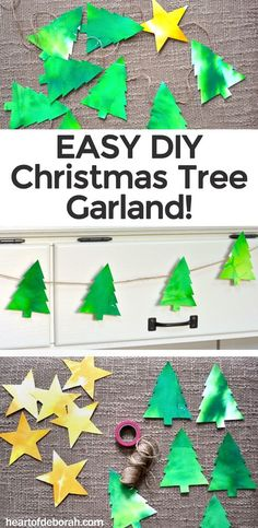 I LOVE this watercolor Christmas tree garland. It's a super easy DIY craft perfect to get into the holiday spirit. Also easy enough to do as a fun Christmas kid's craft. #christmas #kidscraft #holidaycraft #christmastree #garland