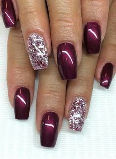 """Deep wine with """"dew drop"""" nail art with coral polish and bronze sparkles Related Postscute & easy nail art designs white nail art designs summer nail art … Continue reading 70 + Cute Simple Nail Designs 2017 → Nail Designs 2017, Fall Nail Designs, Burgundy Nail Designs, Coral Nail Designs, Acrylic Nail Designs Glitter, Gel Nail Art Designs, Cute Simple Nails, Cute Nails, Simple Art"""