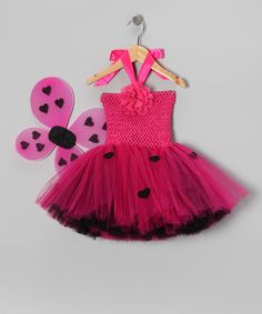 Take a look at this Hot Pink & Black Love Bug Halter Dress & Wings - Infant & Toddler by Tutu Mania on #zulily today!