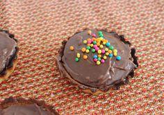 Mini chocolate tarts with sprinkles