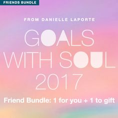Goals With Soul 2017: A Desire Map Program for the New Year - For you AND one to gift for a friend. INCLUDED IN THE PROGRAM Goals with Soul 2017 Audios 6 brand new audios that walk you through The Desire Map process  Whether you're new to Desire Mapping or have done the process before, this is the perfect ritual to begin your New Year with clarity of heart.   Goals with Soul 2017 Interactive and Printable Workbook 12 Months of Goals With Soul Monthly Check-ins for 2017