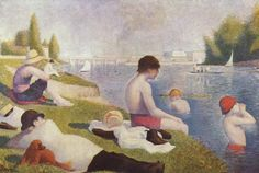 """Bathers at Asnières"" by Georges Seurat. oil on canvas. In the collection of The National Gallery, London. The finished painting for which Seurat made many studies, including one at The Cleveland (OH) Museum of Art. Georges Seurat, Albertina Wien, Seurat Paintings, Oil Paintings, National Gallery, Impressionist Art, Famous Artists, Art And Architecture, Art Day"