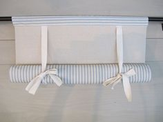 CUSTOM Order for KRISTIN Spa Blue 36 Inch Long Cotton Ticking Swedish Roll Up Shade Stage Coach Blind
