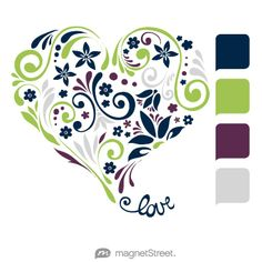 Navy, Lime, Eggplant, and Silver Wedding Color Palette - free custom artwork created at MagnetStreet.com