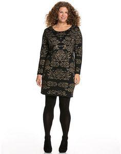 LANE BRYANT PLUS SIZE BLACK & GOLD INTARSIA SWEATER DRESS SZ 26/28 NWOT #LaneBryant #SweaterDress #CocktailFestive
