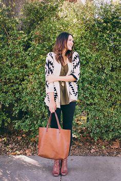 black + white patterned cardigan / olive / cognac / black denim // member Kendi of Kendi Everyday
