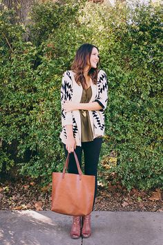 black + white patterned cardigan / olive / cognac / black denim // member Kendi of Kendi Everyday