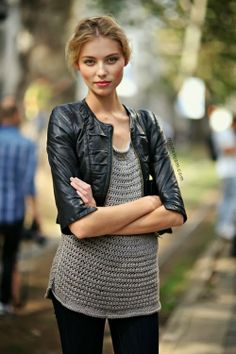 Simple street style- Crop leather coat with grey sweater