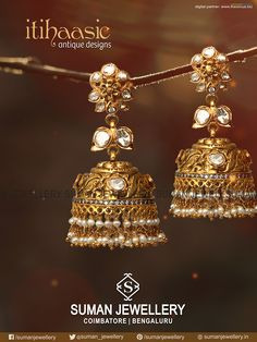 Spell bounding #Jhumkkas crafted with the essence of tradition and culture from the house of Suman jewellery.   #suman_jewellery #itihaasic #gold #jewellery