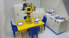 1944 Plasco  Kitchen Toy Dollhouse Traditional Style fridge Stove Sink  Table Chairs Yellow Blue White