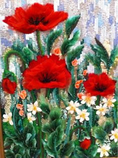 Sequins and crystal pleating poppies