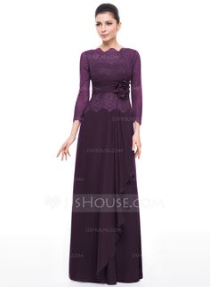 A-Line/Princess Scoop Neck Floor-Length Chiffon Lace Mother of the Bride Dress With Flower(s) Cascading Ruffles (008058389) - JJsHouse