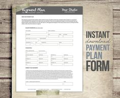 Photography Business Form - Payment Plan - Financial Contract Invoice Template for Photographers - Payment plan Worksheet Plan - INSTANT DOWNLOAD...