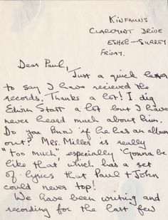 The Beatles / George Harrison - Extraordinary 1966 Letter With Stax Records, George Martin Revelations - Recordmecca