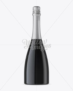 Dark Glass Champagne Bottle Mockup – Front View