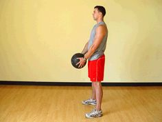 Today's Exercise: Squat with Front Medicine Ball Raises
