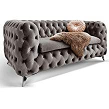 Chesterfield Sofa Couch Stoff Samt 3 Sitzer 2 Sitzer Sessel 1 Sitzer Designer Mobel Emma 2 Sitzer Silber Grau Chesterfield Sofa