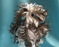 Real Feather Centerpiece Silver  Feather by VeriFeather on Etsy