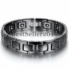 Black Ceramic Men's Powerful Health Magnetic Energy Bracelet Link Cuff Bangle