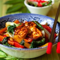 Summer vegetable stir-fry with home-fried tofu.  Amazing taste, and vegan too!